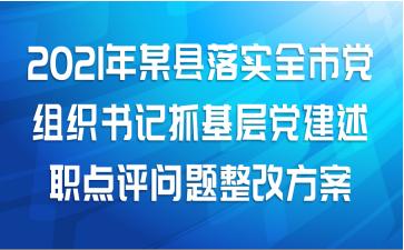 2021年某县落实全市党组织书记抓基层党建述职点评问题整改方案