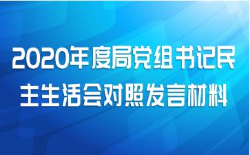 2020年度局党组书记民主生活会对照发言材料