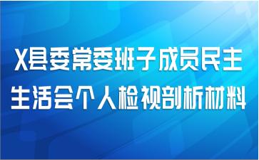 X县委常委班子成员民主生活会个人检视剖析材料