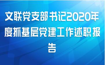 文联党支部书记2020年度抓基层党建工作述职报告