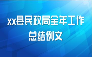 xx县民政局全年工作总结例文